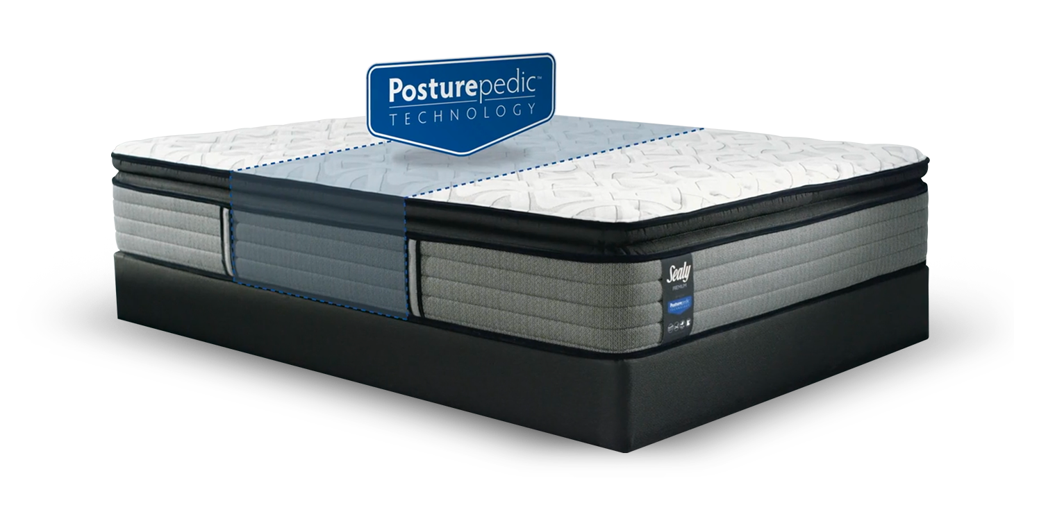 Sealy Response Bed With PosturePedic Technology Illustration and Logo